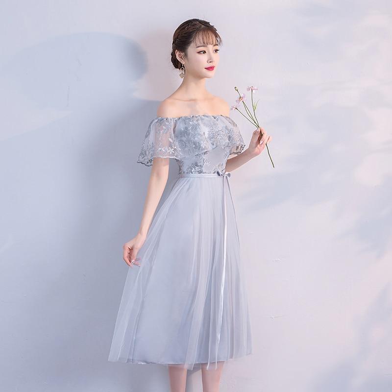 Boat Neck Wedding Party Dress  Bridesmaids Dresses Elegant Off The Shoulder Midi Dress Back Of Bandage Grey Colour
