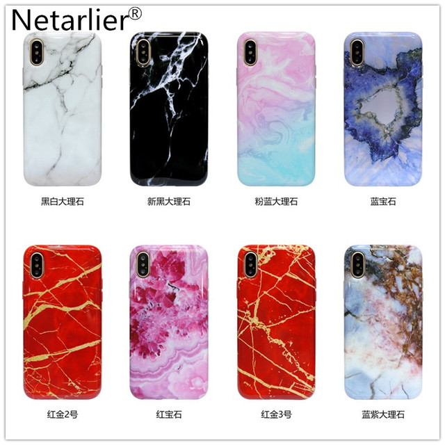 low priced 410c4 db0a7 US $5.99 |Netarlier New Marble Case For iPhone X Black White Red Pink Blue  Gold Marble Designs Phone Case Protective IMD Soft Glossy Cover-in Fitted  ...
