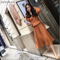 2018 New Women's Knit Sweater 2 Piece Set Fashion Batwing Sleeve Ruffled hem V Neck Top + Pleated Skirt Knitted Twins Suit L2411