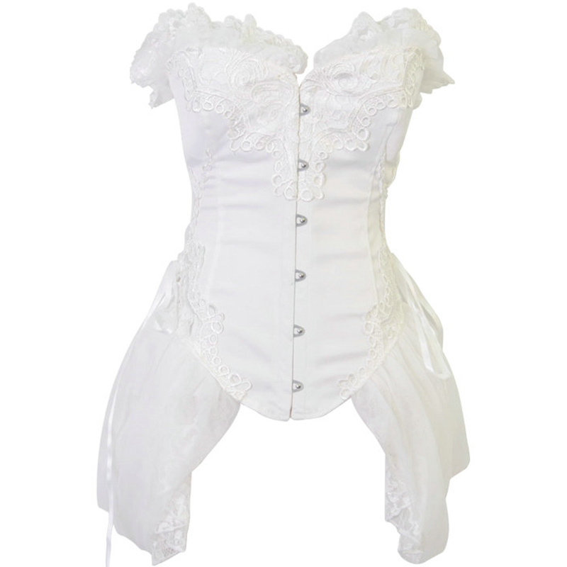 New Sexy White Res Black Satin Metal Buckle Gothic Overbust Lace Ruffle Corset Dress Burlesque Costume Bustier top