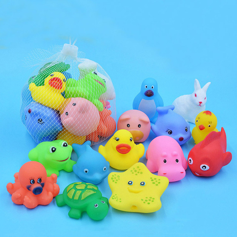 13 Pcs Mixed Animals Swimming Water Toys Colorful Soft Floating Rubber Duck Squeeze Sound Squeaky Bathing Toy For Baby Bath Toys cute baby rattle bath toy squeeze animal rubber toy duck bb bathing water toy race squeaky yellow duck classic toys reborn gift