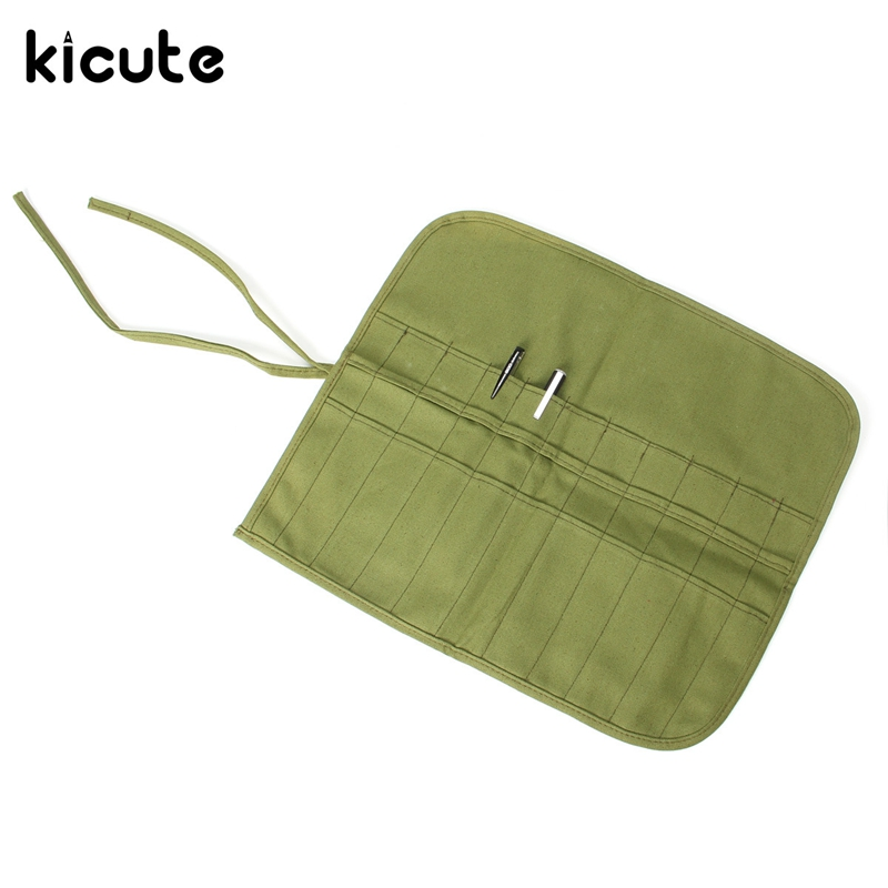 Kicute Roll Up Canvas Pencil Case 22 Holes Green Pencil Cases Paint Brush Bag Artist Draw Pen Oil Pen Brush School Supplies big capacity high quality canvas shark double layers pen pencil holder makeup case bag for school student with combination coded lock