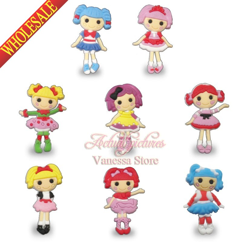 все цены на Small wholesale 100pcs/lot Lalaloopsy PVC Pins button badges brooches DIY Charms Fit For Shoe Accessories Shoes Decor онлайн