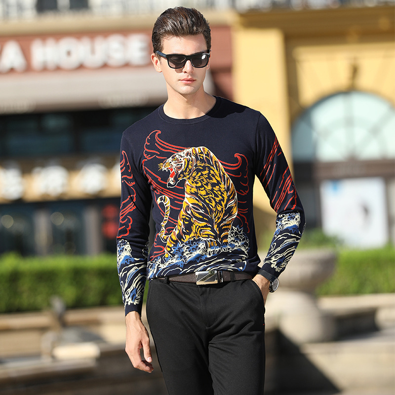 Chinese Style 3D Tiger Pattern Printing Fashion Pullovers Sweater Autumn 2018 Quality Cotton Soft Comfortable Sweater Men M-XXXL