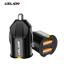 USLION Mini 2 Port USB Car Charger Adapter For iPhone Samsung QC3.0 Fast Charging USB Charger Mobile Phone Dual USB Car-charger цена