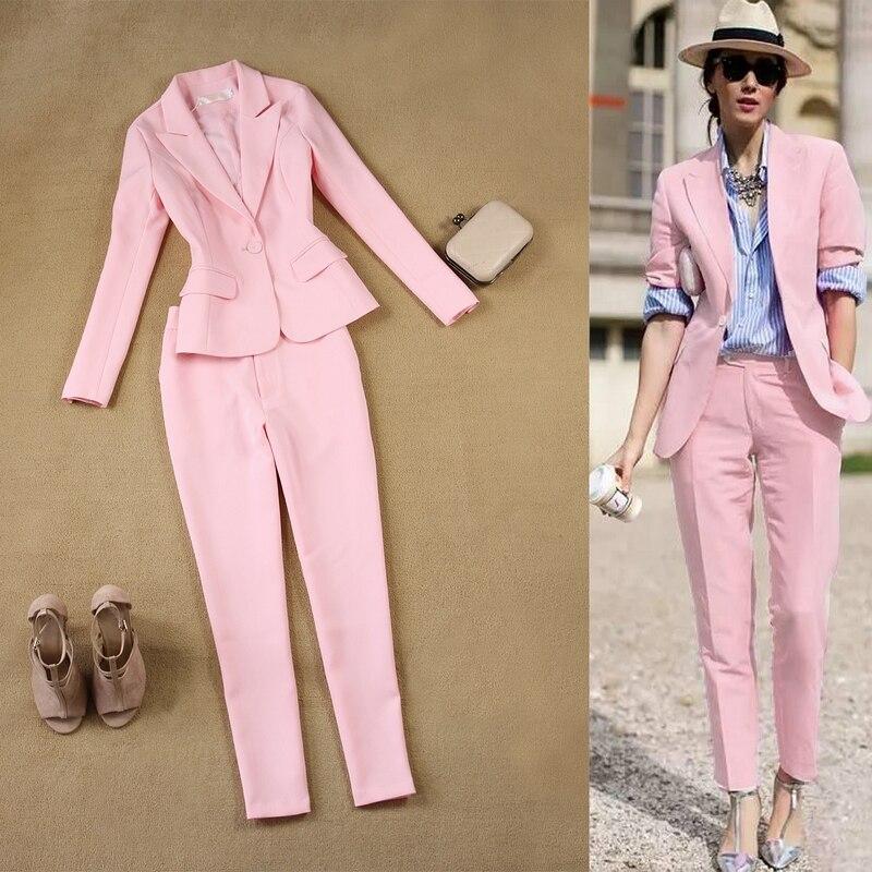 100% Wahr Frauen Rosa Anzüge Blazer Mit Hosen Zwei Stück Blazer Frau Blazer Anzug Set Kleid Klar Und GroßArtig In Der Art