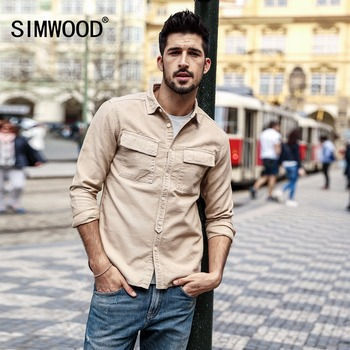 3127ac7931cce SIMWOOD 2019 wiosna koszule męskie mody dorywczo Slim Fit kwadratowy  kołnierz z długim rękawem koszula mężczyzna Plus rozmiar odzież marki 180309