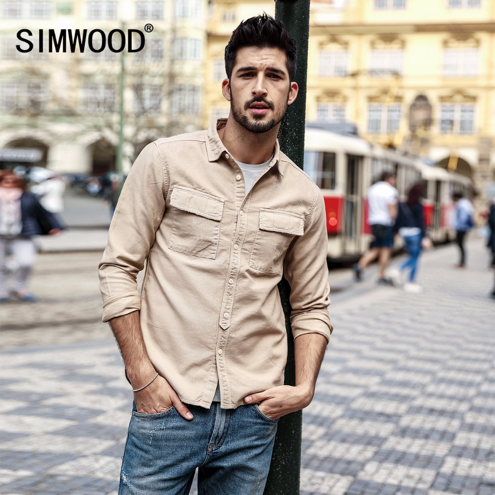 SIMWOOD 2020 Spring Shirts Men Fashion Casual Slim Fit Square Collar Long Sleeve Shirt Male Plus Size Brand Clothing 180309