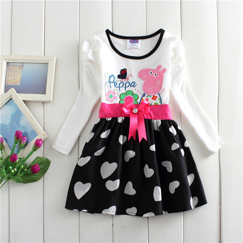 kids girl dress full sleeve cartoon peppa cotton Splicing bow children comfortable weekend causal fashion dress clothes 18M-5yrs