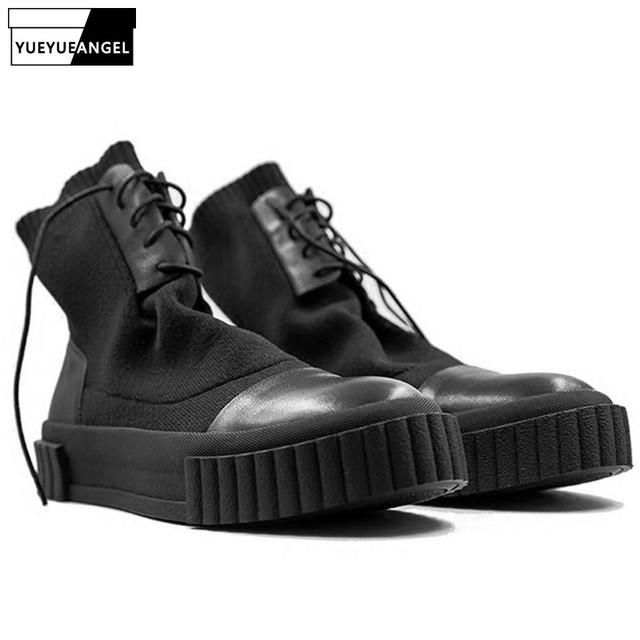 2019 New Men Shoes Leather Ankle Knitting Shoes Luxury Trainers Winter Snow Boots Casual Sneaker Lace-up Sock Flats Black Shoes
