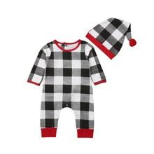 c2e8dc08dc97 Xmas Infant Baby Boy Girl Clothing Romper Long Sleeve Plaid Cotton Cute  Jumpsuit Hat Clothes Outfit Sets Baby Boys 0-24M