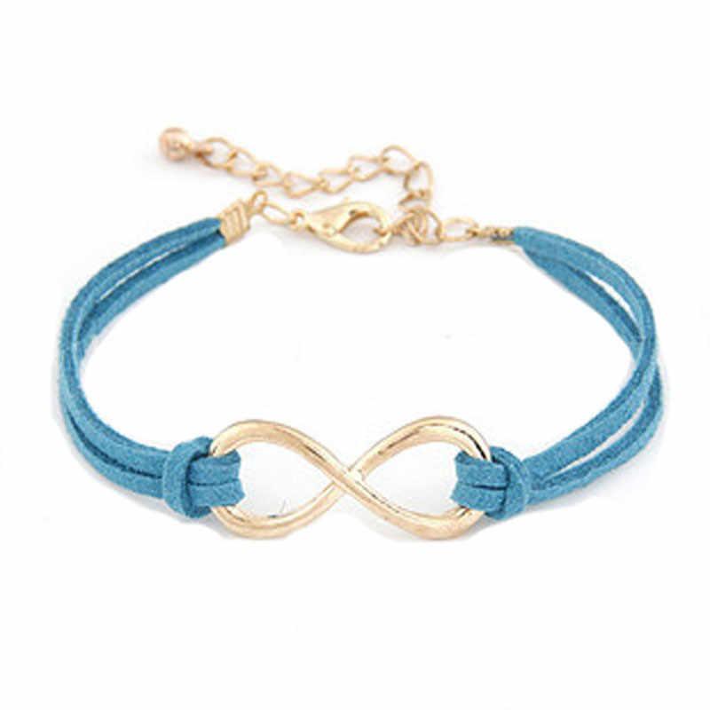 2019 nowa bransoletka kryształ styl romański kobiety mężczyźni Handmade prezent urok 8 kształt biżuteria nieskończoność skórzana bransoletka