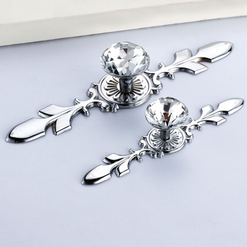 sliver glass diamond crystal shoebox cabinet closet knobs home door drawer wardrobe pull handles with screws