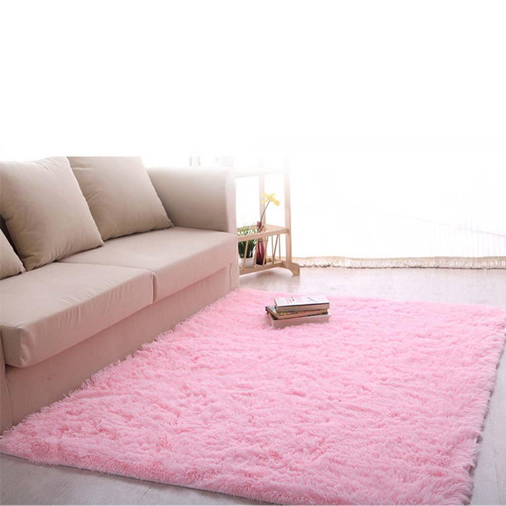 New Fluffy Rug Anti Skiding Shaggy Area Dining Room Carpet Floor Mat Pink