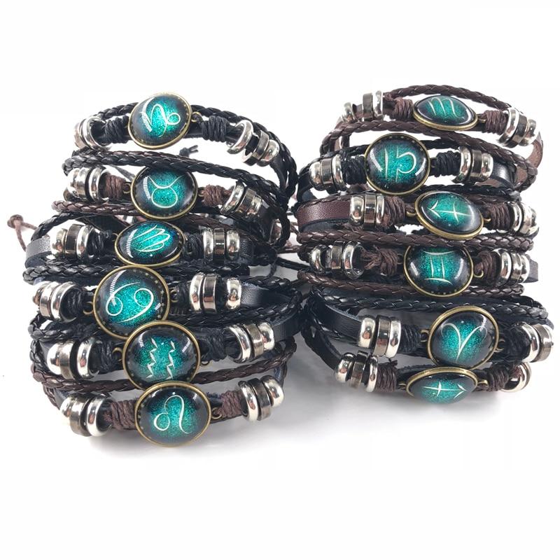 New 12 Constellation Men Leather Bracelet Charm Bracelets for Men Boys Women Girl Jewelry Accessories Gifts