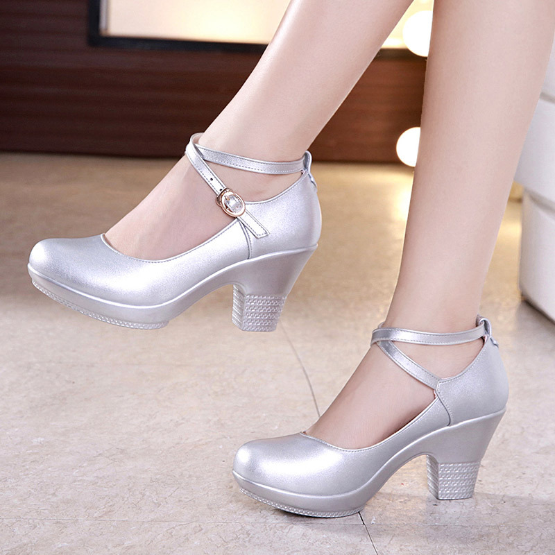 Platform Pumps New 2019 Fashion Dance Shoes Buckle Women's Pumps With Medium Heels Silver Black Block Heels Wedding Shoes Bride
