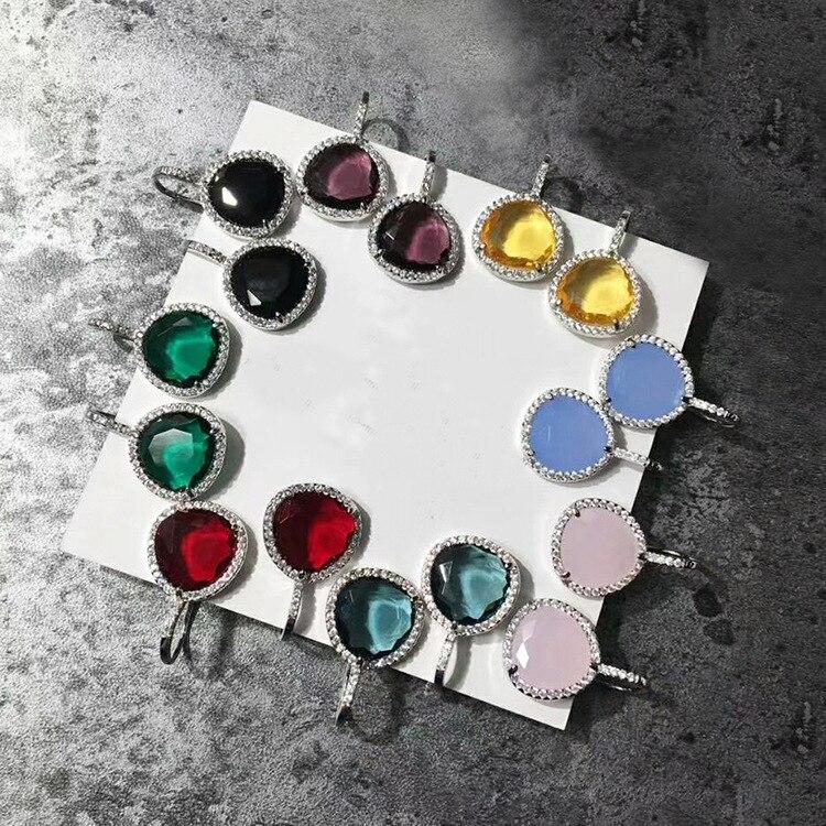 ZOZIRI Pomo brand triangle shape candy earrings ,8 colors gems zircon stud earrings for women accesories famous brand jewelry недорго, оригинальная цена