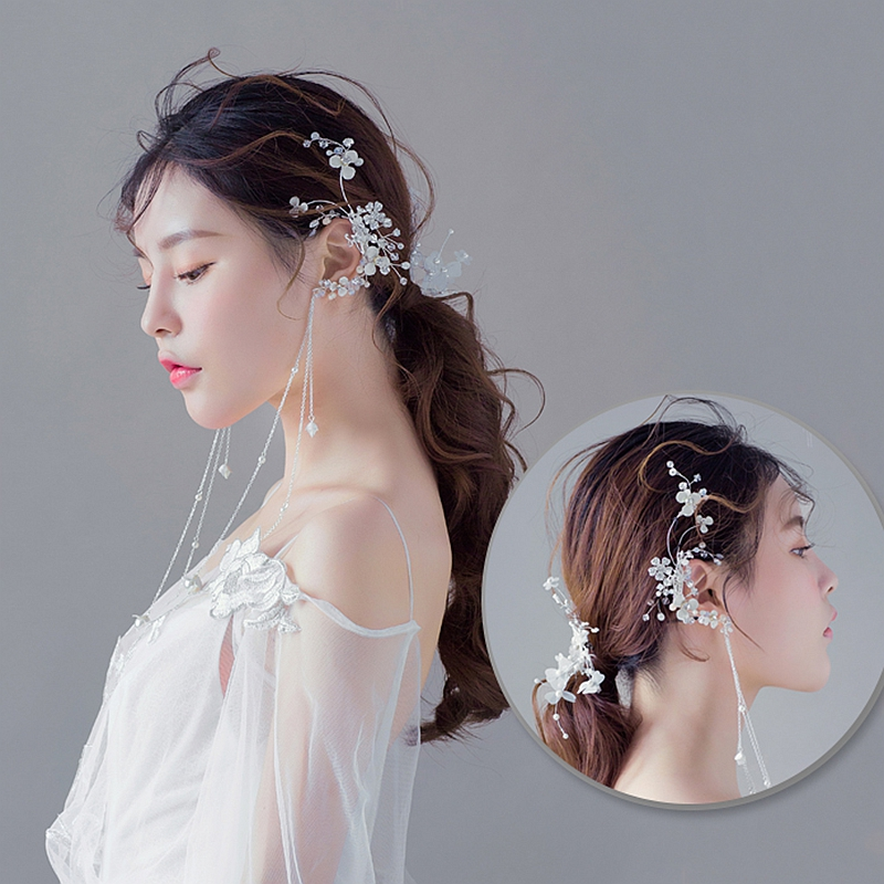 Bridal Fairy Beauty Long Tassel Flowers Earrings Super Banquet Ear Hanging Exaggerated Hair Jewelry Accessories, Item: QS0421 цена
