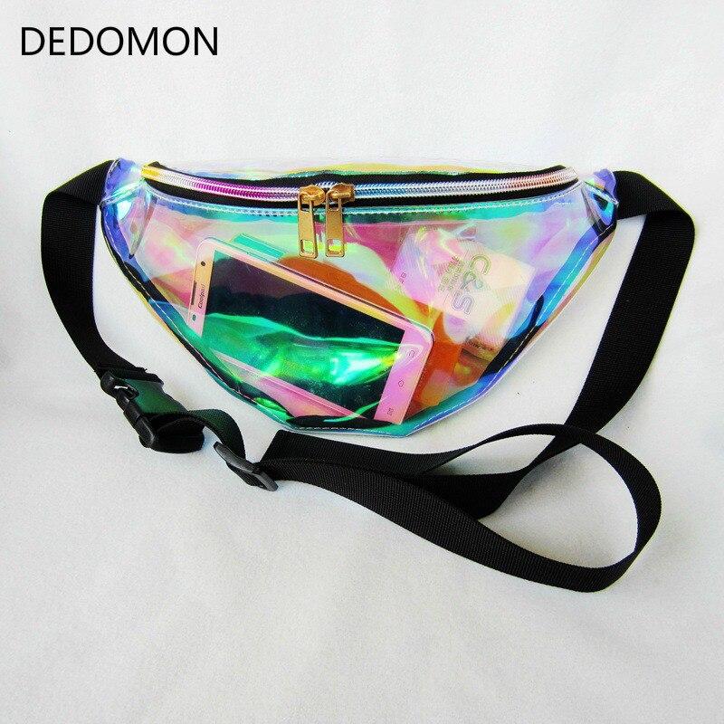 Rainbow Transparent Bag Punk FANNY PACK Punk Bum Bag Chic Hologram Purse Fashion Waist Pack camouflage detail bum bag