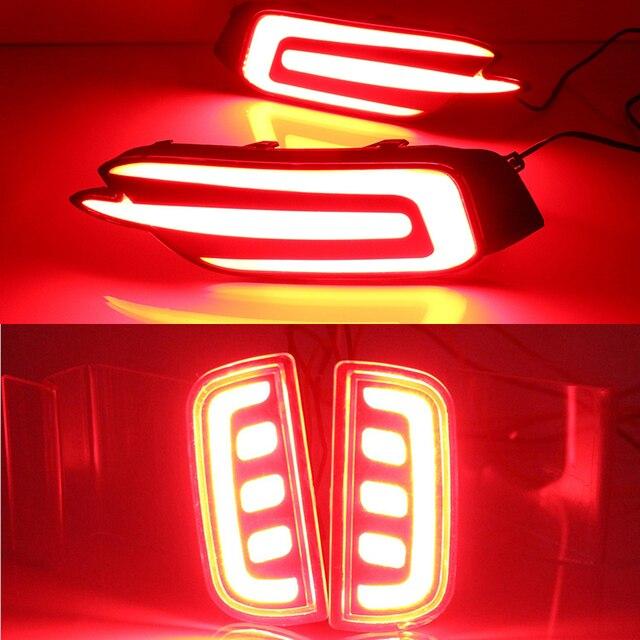 Car Flashing 2Pcs Led Rear Driving Lights Brake Lights Rear Bumper Lamp  Warning Light For Honda