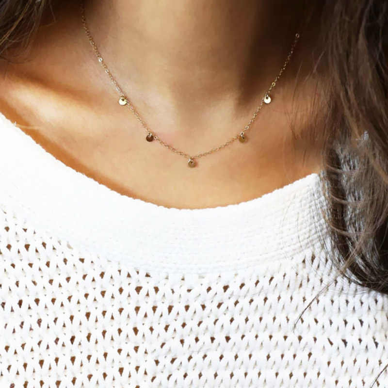 LNRRABC Simple Paillette Clavicle Silvery Golden Short Coruscant Adjustable Choker Necklaces Fashion Jewelry