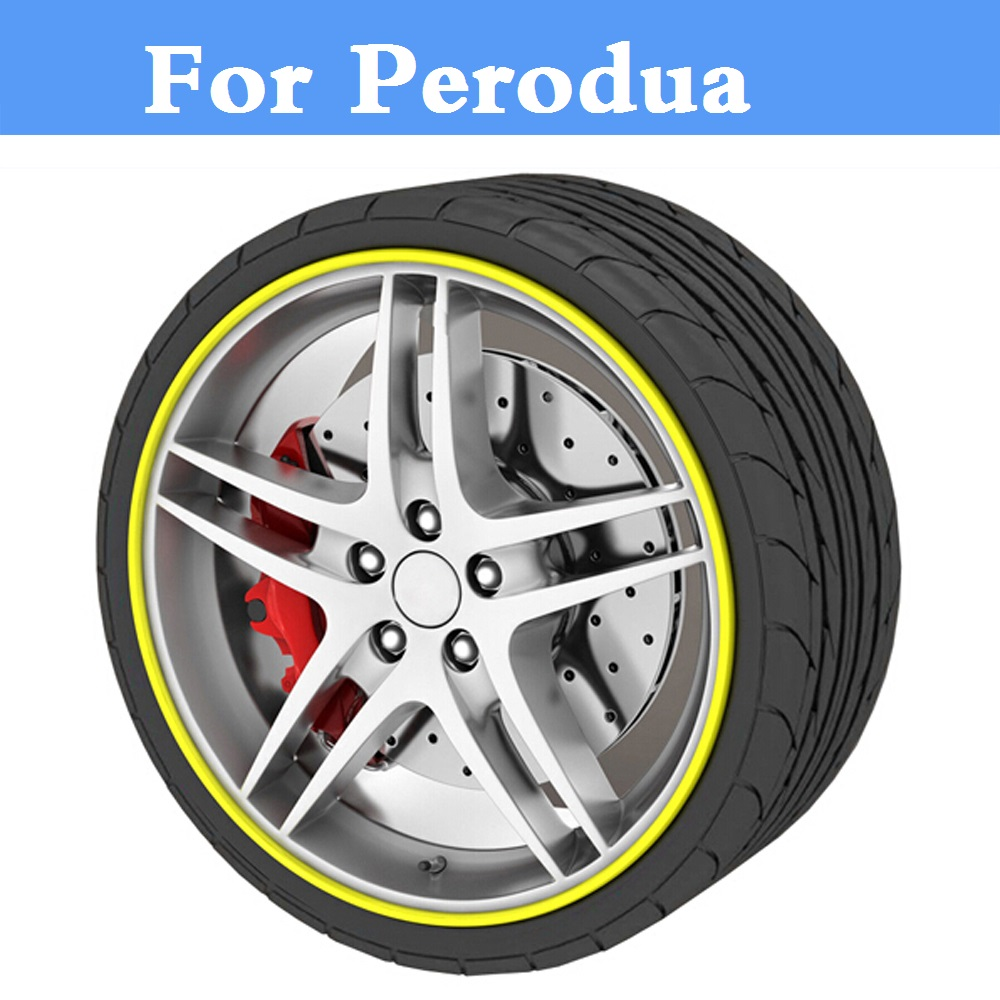8M Car Wheel Hub Tire Sticker Decorative Strip/Rim Care Covers For Perodua Kancil Kelisa Kembara MyVi Nautica Viva