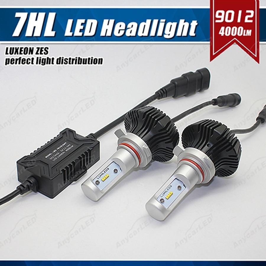 1 Set 9012 HIR2 50 W 8000LM G7 phare LED Kit ampoule de phare LUMI LED LUXEON ZES 16 LED SMD puce sans ventilateur 6500 K blanc mis à niveau HID