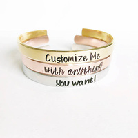 Design Your Own Jewelry Stainless Steel Personalized Stamped Cuff Bracelet Rose Gold Color Custom Name Bracelets