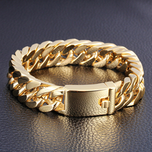 Granny Chic New Style Good Quality Gold Color Stainless Steel Men Bracelet 15mm Heavy Cuban Chain Biker Jewelry  7-10 Inch