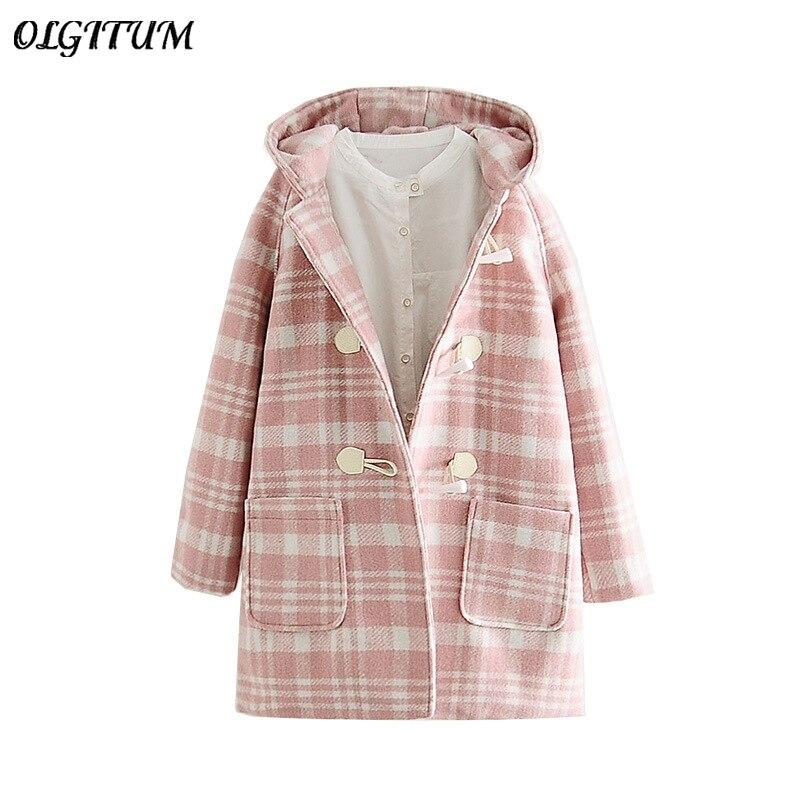 2018 осень/зима новый шерстяной пиджак Для женщин милый розовый решетки шерстяное пальто длинная теплая с капюшоном Свободные пиджаки с карм...