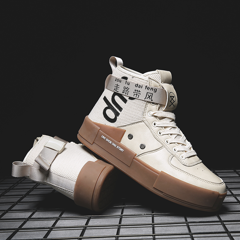 Zanvllchy Autumn And Winter Men Casual Shoes Red Canvas High Top White Sneakers Men Lace Up Chaussure Homme Walking Trainers