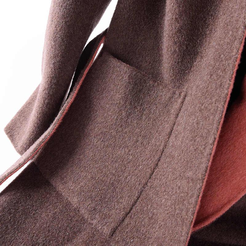 BELIARST 18 סתיו וחורף חדש נשים של דו צדדי ארוך צמר מעיל סלעית חגורת מעיל קרדיגן חם פראי המותניים צרות מעיל