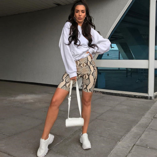 Sexy Animal Snake Skin Printed Two Piece Set Women Tracksuit Outfit Bodycon Crop Top and Shorts Clothing Sets Streetwear
