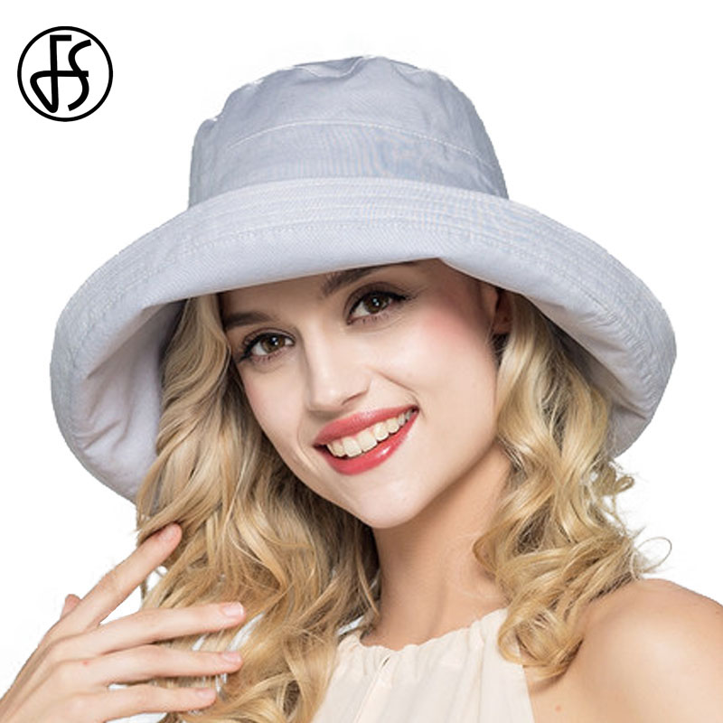 FS Summer Womens Cotton Sun Hats Foldable Wide Brim Casual Viseira Feminina Fashion Sun Visor Bucket Hat Chapeu Feminino