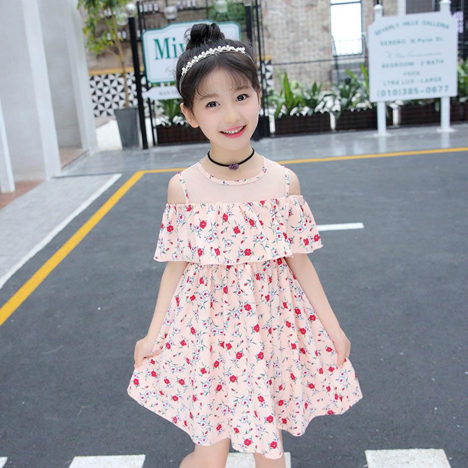 8d826b177d09a Summer Dresses For Girls Off Shoulder Floral Dresses For Teenager Mesh Kids  Dresses Teenage Clothing For Girls 6 8 10 12 Years