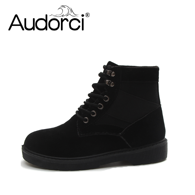 Audorci Martin Boots 2018 Fashion Winter Snow Boots With Fur Women Shoes Casual Boots Woman 2Color Warm Solid