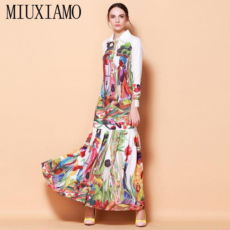 Haute Qualité Date De Piste de Mode Tournent Vers Le Bas Maxi Robe de Femmes À Manches Longues Rétro Art Imprimé Designer Longue Robe