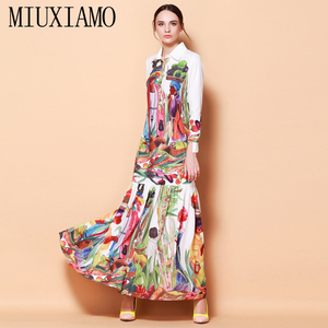 High Quality Newest Fashion Runway Turn Down Collar Maxi Dress Women's Long Sleeve Retro Art Printed Designer Long Dress(China)