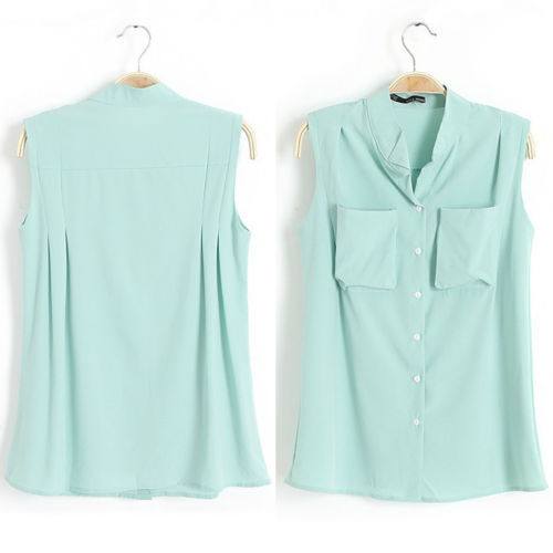 5bd61e6b Women Summer Sleeveless Casual Button Down Shirt Chiffon Top Blouse Vest 3  Colors S M L-in Blouses & Shirts from Women's Clothing on Aliexpress.com ...