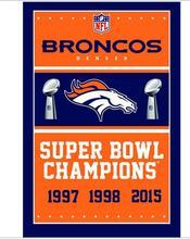 Denver Broncos 3ftx5ft bandera Bandera 100D Poliéster Bandera de metal Ojales