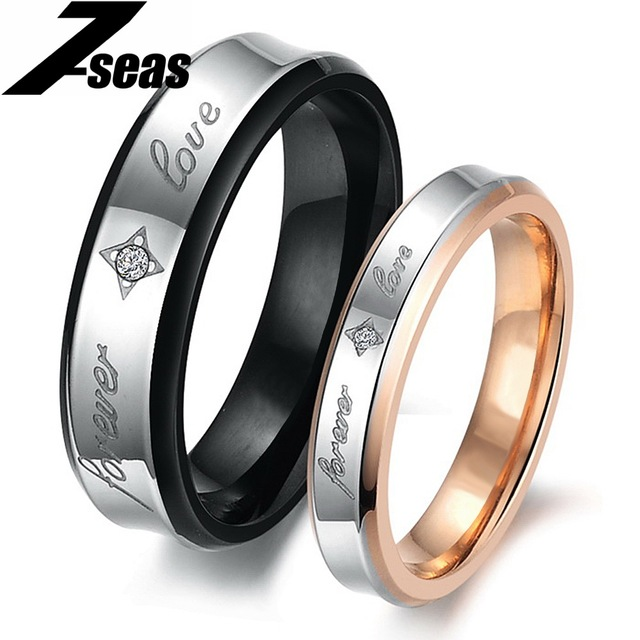 """7SEAS 1 Pcs Price Fashion Couple """"Forever Love"""" Finger Men Jewelry Rings For Women Male Size 7-15 Lady Size 5-11 Lovers Ring 283"""