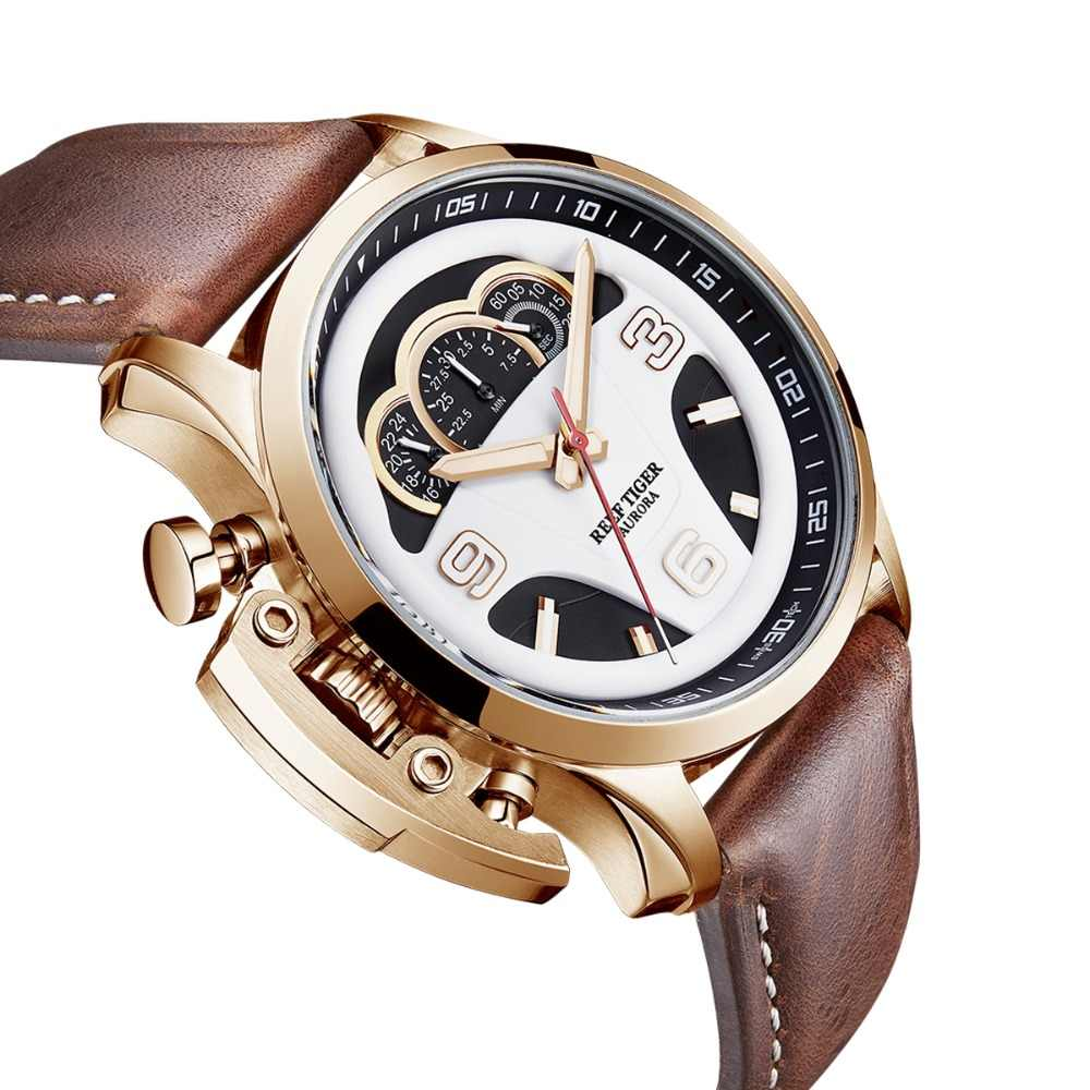 2019 שונית טייגר/RT Mens אופנה ספורט שעונים עור אמיתי רצועת לוח מחוונים חיוג הכרונוגרף להפסיק שעונים RGA2105