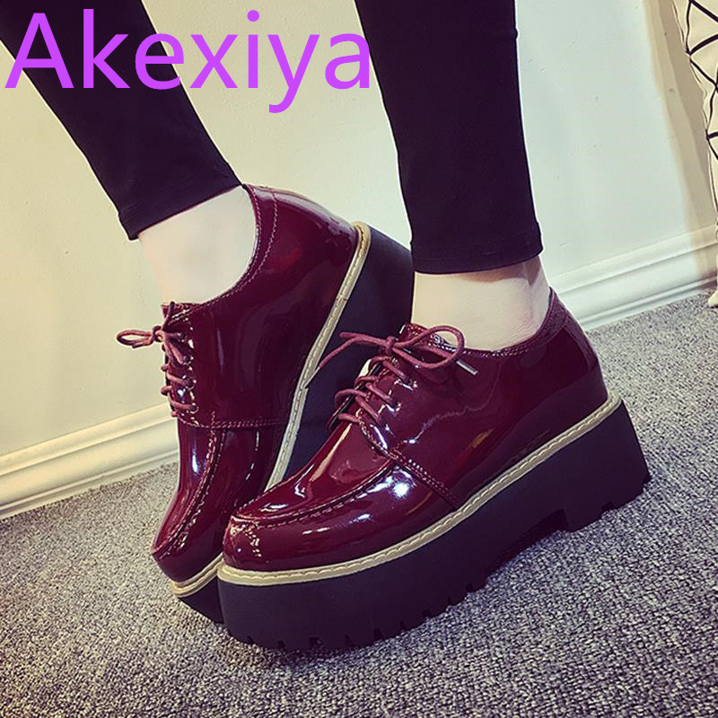 Akexiya Oxford Women 2017 Casual Sapato Feminino Patent Leather Platform Flats Round Toe Flat Shoes Woman Comfortable Creepers