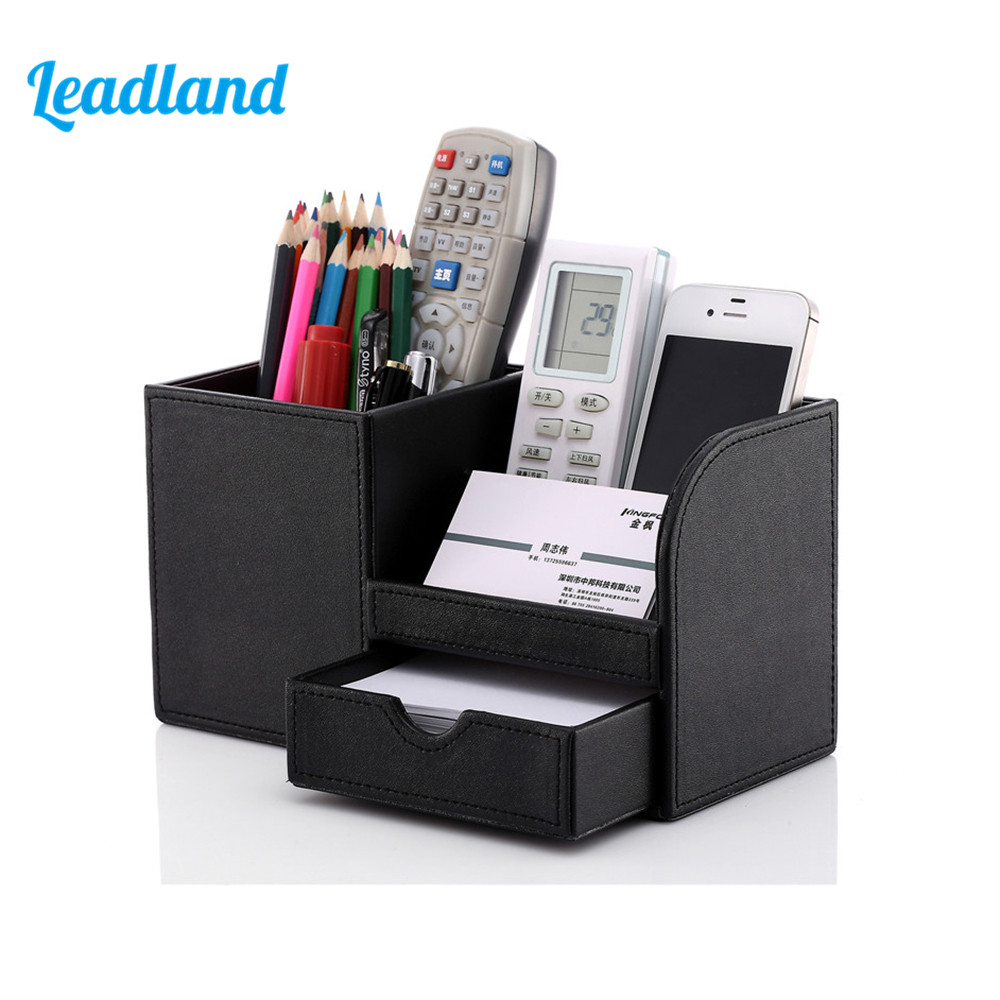 Pen Pencil Holder Box Full Half PU Leather Case Desk Stationery Organizer Storage Box Desk Accessories School & Office Supplies 3 grid wooden storage box home office desktop stationery pen pencils holder retro vintage wood desk organizer school supplies