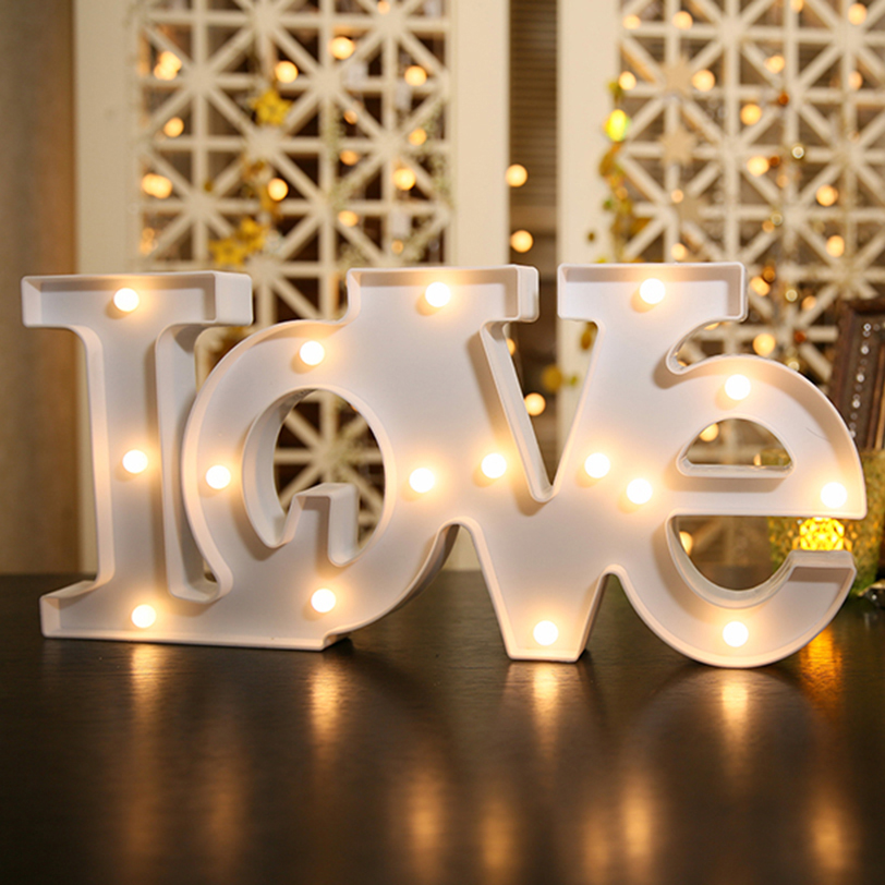 2 Sizes LOVE Modeling Fairy Night Lights ABS Plastic LED Table Desk Lamp Room Atmosphere Wedding