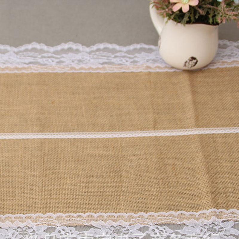 burlap runner lace table runner linen tablecloth coffee table