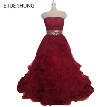 E JUE SHUNG Burgundy Wedding Dresses 2017 Gowns Dress