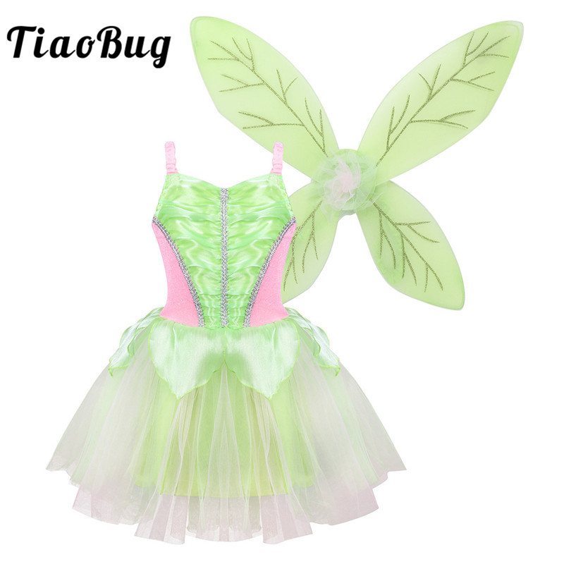 TiaoBug Kids Girls Princess Fairy Costume Sleeveless Mesh Dress Glittery Wings Set Children Halloween Cosplay Party Dress Up