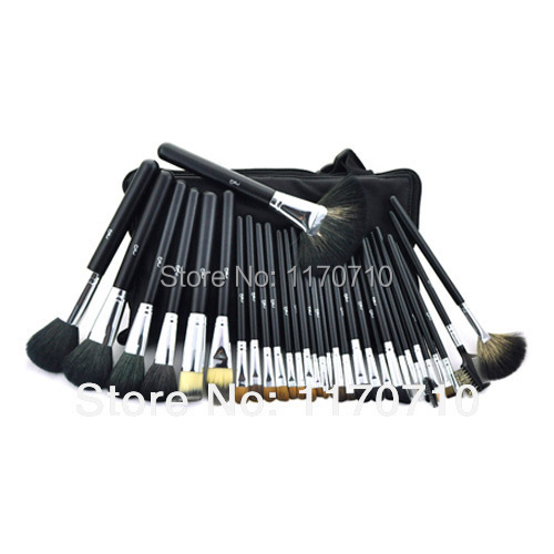 FREE SHIPPING! Best Quality Goat Hair Professional Makeup Brush Set 32PCS/Set Including a Deluxe Leather Bag! майка uniqlo airism 135067