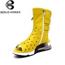 Bonjomarisa/натуральная кожа женские Летняя обувь модные ботинки на молнии обувь на платформе с открытым носком для обувь для женщин 2017 г. брендовые ковбойские ботинки